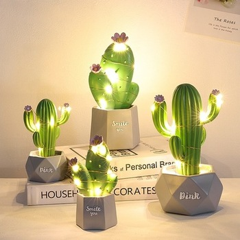 Ins Cactus LED Table Lamp Dream Star Small Night Light Bedroom Decoration Childrens Gift  Resin Trim Room decoration Cute