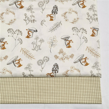 2PCS Dinosaur, Fox Cartoon Twill Printed 100% Cotton Fabric For Baby Sewing Quilting Fat Quarters Child DIY Patchwork Fabric 6