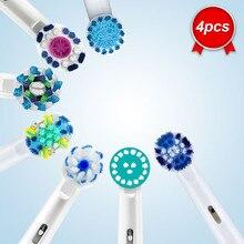 Oral b cabeças escova de dentes elétrica acessórios substituição escova peças reposição 4 unidades/pacote precisão limpo cruz ação 3d branco quente