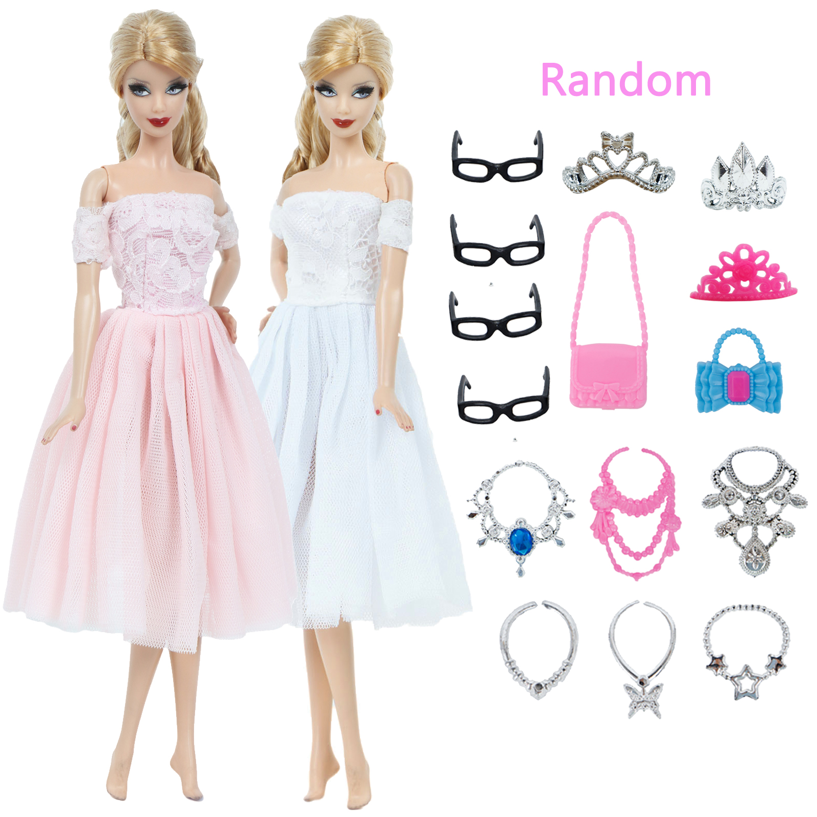 17 Pcs = Random 15 Accessories + 2 Lace Mini Gown Princess Party Dresses Bag Glasses Crown Necklace Clothes For Barbie Doll Toy