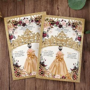 Image 2 - 100 шт. блестящие лазерные вырезы приглашения Quinceanera золотого цвета свадебные карманы с конвертом