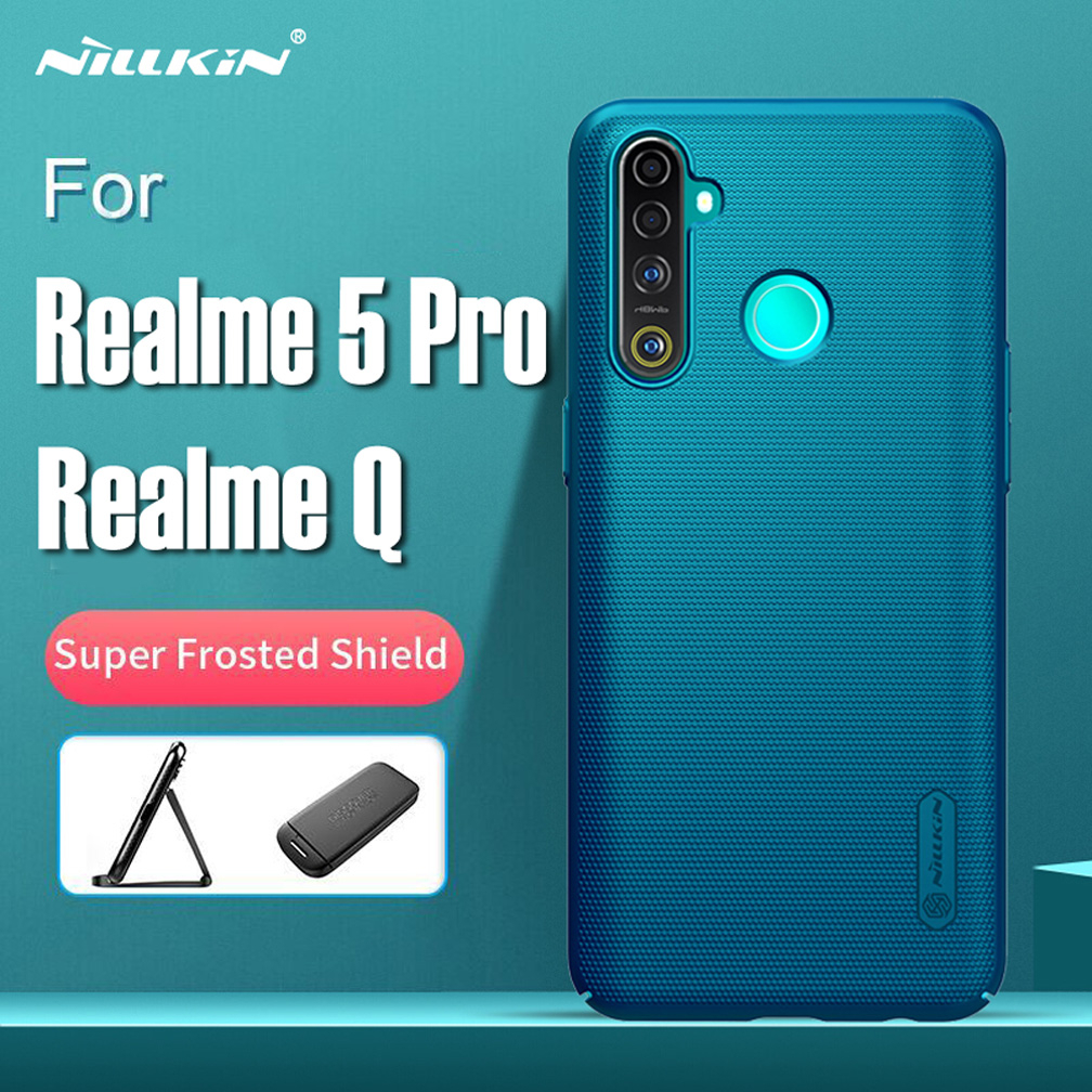 For Realme 5 Pro case rugged cover, Nillkin shockproof case for Realme Q mobile phone frosted shield hard