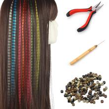 Fake Hair Colored Strands of Hair Extension False Rainbow Overhead Fake Coloring feather for Hair Synthetic