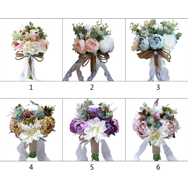 Vintage Rustic Style Handmade Wedding Bouquet Artificial Peony Rose Romantic Bride Bridesmaid Holding Flower Party Church Decor