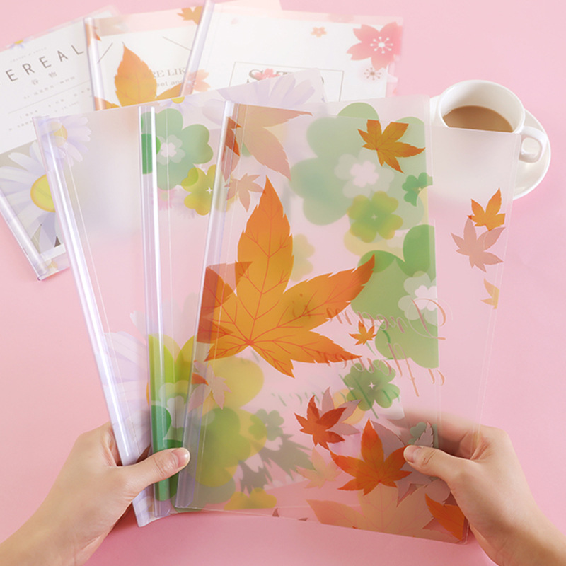 A4 Transparent PP Filling Bag Report Cover Cute Book Cover Document Holder File Folder