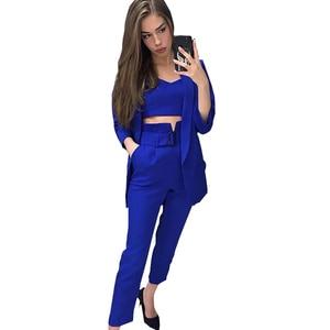 Image 3 - TAOVK Women Suits Female Pant Suits Office Lady Formal Business Set Uniform Work Wear Blazers Camis Tops and Pant 3 Pieces Set