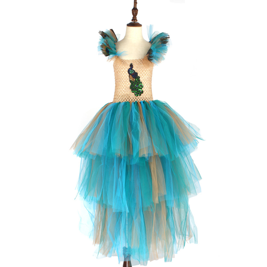 LIMITED EDITION Luxury Girls Peacock Tutu Dress with Matching Headband Multi-layer Kids Pageant Tulle Ball Gowns Peacock Costume (7)