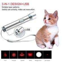 Funny Pet Laser LED zabawka dla kota 3 w 1 Cat LED Chase zabawki laserowy wskaźnik ładowalna latarka USB Pen Cat zabawkowe zwierzątko produkty