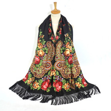 Women Scarf Winter Shawl Female Russian Babushka Long Hijab Floral Pattern Dupatta Retro Ukrainian Polish Fringed Spain Scarf