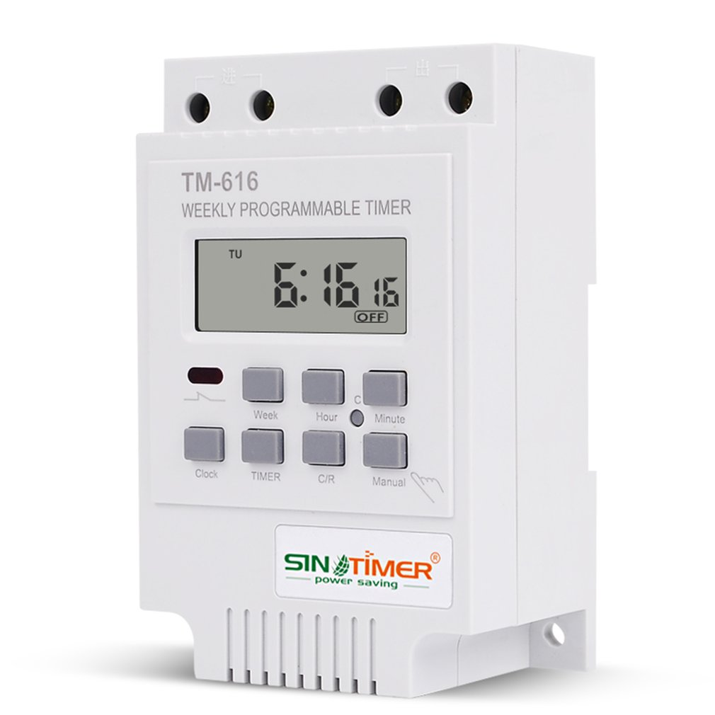 SINOTIMER TM616W-2 30A 220V Electronic Weekly Programmable Digital TIME SWITCH Relay Timer Control Timer Din Rail Mount