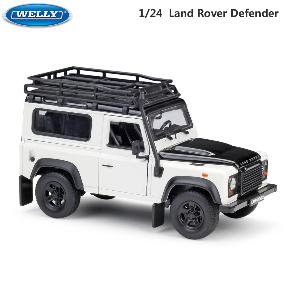 WELLY Alloy Model Car 1:24 Scale Diecast Car Simulator Land Rover Defender Off-Road Metal ClassicToy Car For Kid Gift Collection