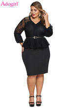 Adogirl Black Plus Size Lace Bodice Peplum Dress with Belt Sexy V Neck Sheer Long Sleeve Ruffle Bodycon Mini Party Office Dress цена