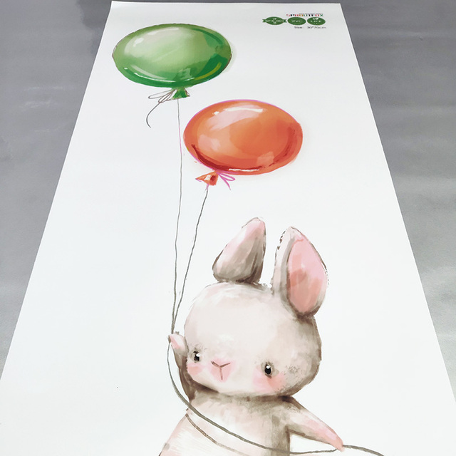 Animal Cartoon Wall Stickers For Kids Rooms Balloon Bunny Decorative 3D Wall Stickers For Children Rooms Large Kids Wall Decals 6