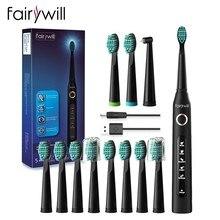Fairywill – brosse à dents électrique sonique, Rechargeable USB FW-507, étanche, têtes de rechange pour adultes