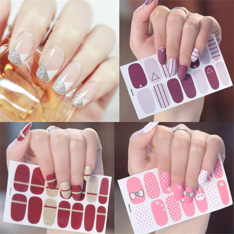 1 Sheet 14Tips Nail Wraps Glitter Gradient Color Adhesive Art Sticker Waterproof Vinyls Decal Decorations