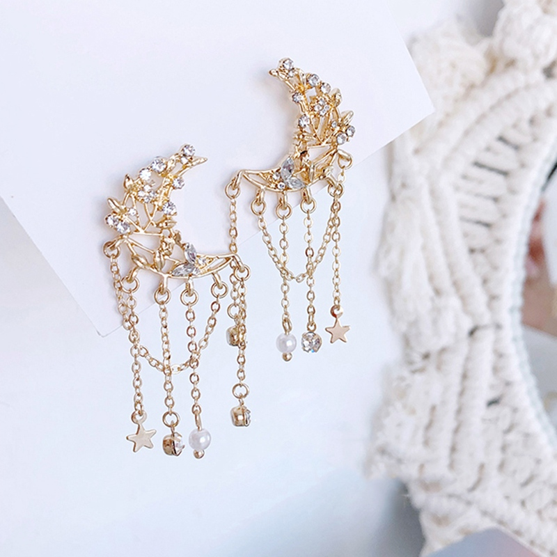 New Korean Metal Zircon Moon Tassel Drop Earrings For Women Students Fashion Boucle D'Oreille Party Jewelry Gifts