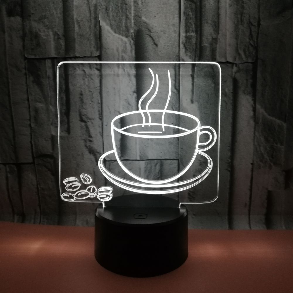 3D Coffee Cup Night Light 7 Color Change LED Table Desk Lamp Acrylic Flat ABS Base USB Charger Cafe Decoration