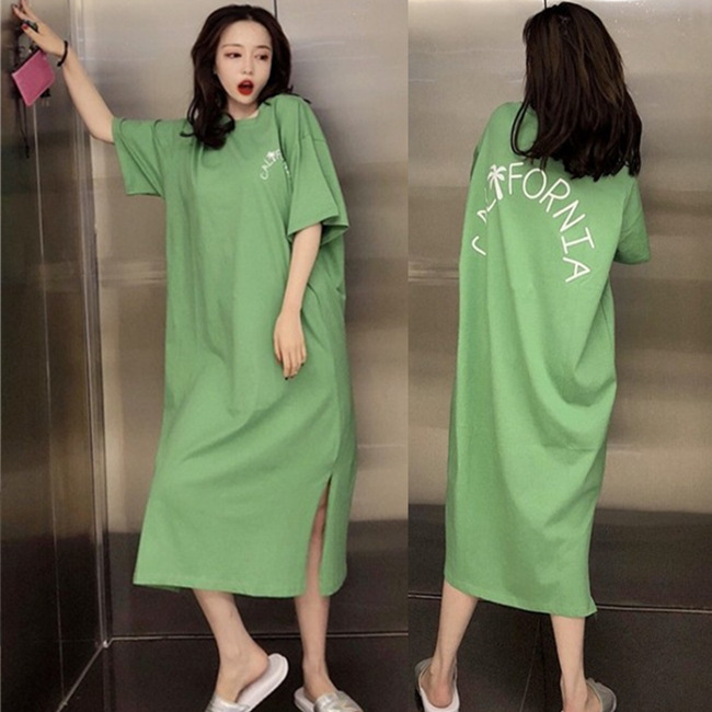 Summer Short-sleeved Nightgown Women's Green Coconut Trees Lettered Skirt M-XXL 4 Color
