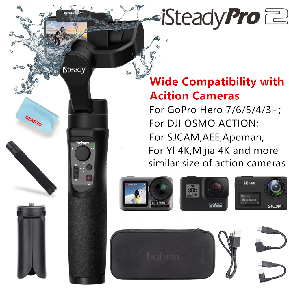 HOHEM iSteady Pro 2 Pro 3 Axis Handheld Splash Proof Gimbal for DJI Osmo Action Gopro