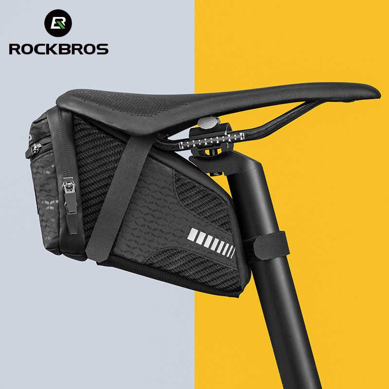 ROCKBROS bolsa para ciclismo, sacola acessório em concha 3D reflexiva, à prova de choque e de chuva, para cano do banco traseiro da bicicleta