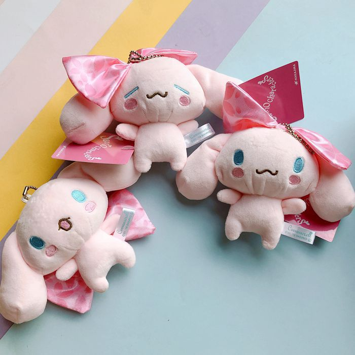 Kawaii Sakura Pink Dog Plush Toys Cinnamoroll Doll Soft Stuffed Animals Kids Keychain Girls Birthday Gifts Bags Pendant