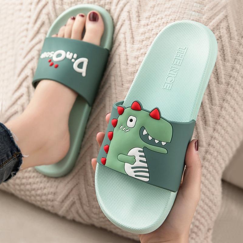 Cartoon Slides Women Summer Slippers Dinosaur Soft Sole Home Slippers Indoor & Outdoor Ladies Sandals Women Shoes Flip Flops