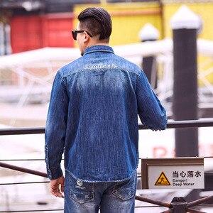 Image 5 - Camisas vaqueras informales de talla grande para hombre ropa de marca de corte holgado, talla grande, 8XL, 6XL, 5XL, primavera y otoño, 2020
