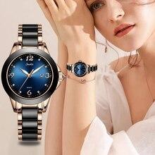 SUNKTA Fashion Gift Women Watches Ladies Top Brand Luxury Ceramic Rhinestone Sport Quartz Watch Blue Waterproof