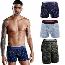 3Pcs Long Boxer Set Men's Cotton Panties Gay Underpants Sexy Man Underwear For Couples Shorts Boxershort Sports Seamless Print