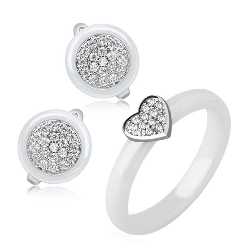 2019 אלגנטי נשים תכשיטי סטים לנקבה נשים שרשרת לב טבעת עגיל סט בריא קרמיקה לא לדעוך קריסטל תכשיטים
