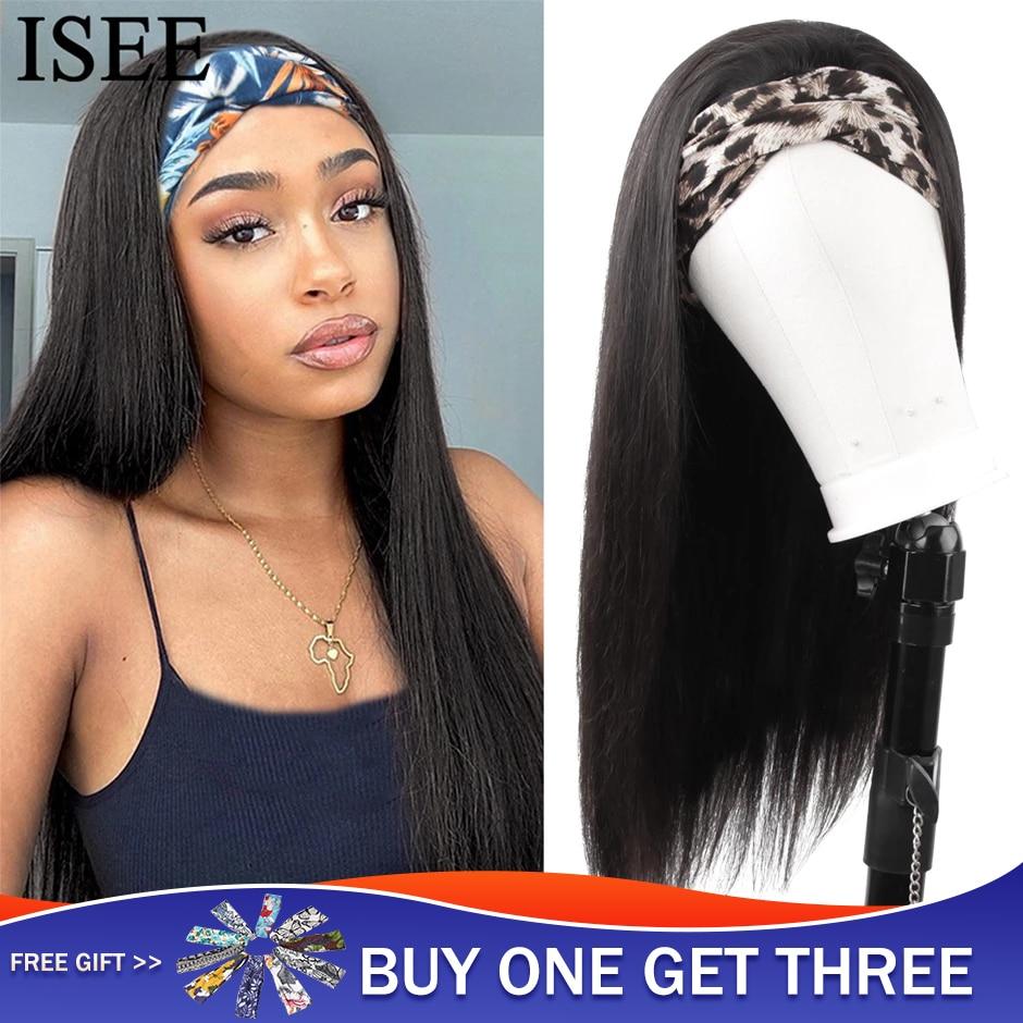 Peluca con diadema recta para mujer Peluca de cabello humano, 180% de densidad, cabello liso malasio, peluca completa hecha a máquina para mujeres negras