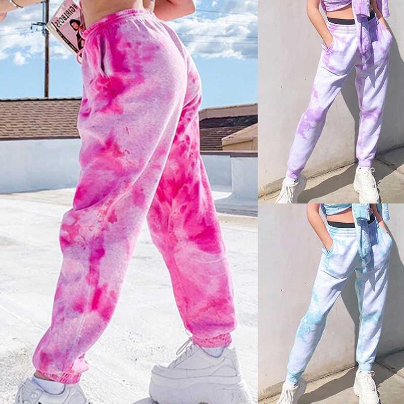 ネクタイ染料スウェットパンツ女性ヒップホップ弾性ハイウエストバギパンツルースハーレムパンツストリートファッションピンクズボンジョギングパンツ