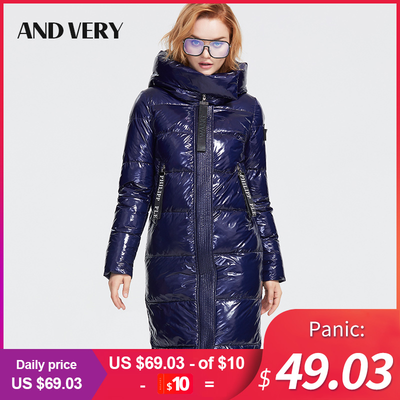 ANDVERY 2019 Winter New Collection Down Jacket Women Dark Color Thick Cotton Outerwear High Quality Long Warm Winter Coat A005