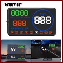 Geyiren m9 display hud carro 5.5 Polegada windscreen projetor obd2 euobd carro de condução exibição dados velocidade rpm consumo combustível 2018 novo