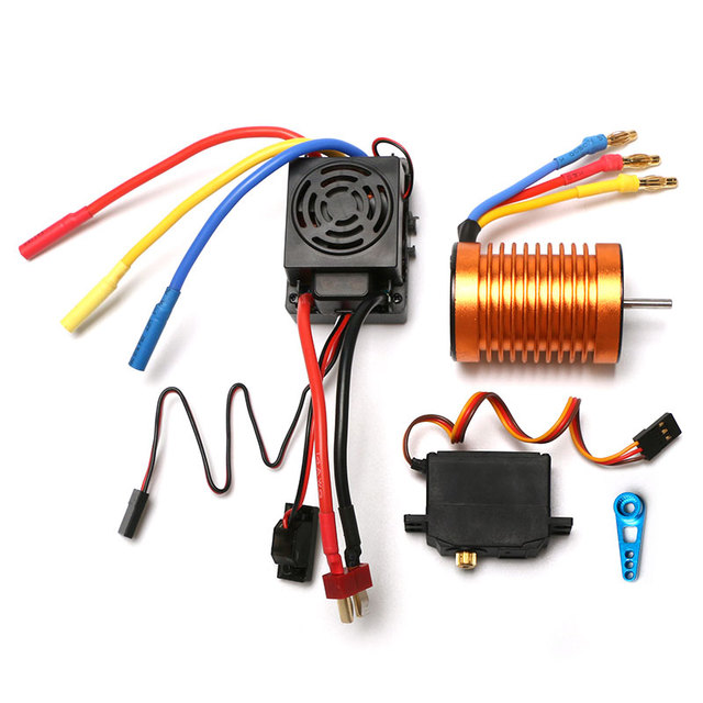 Waterproof B3650 4300KV 3300KV brushless motor 60A ESC metal servo assembly set For WLtoys 12428 A959 B Quality RC Car Parts