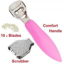 Producto para eliminar la piel muerta de acero inoxidable, exfoliante para piel de talón, cuchillo para piel, pedicura y 10 cuchillas, herramienta para el cuidado de los pies