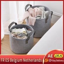 Sale-Felt Storage Basket Dirty Clothes Laundry Basket Bedroom Closet Storage Felt Bin with Handle Portable Dirty Clothes