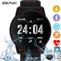 Zouyun relógio inteligente esporte mulheres monitor de freqüência cardíaca pressão arterial fitness rastreador smartwatch gps sporelogio inteligente