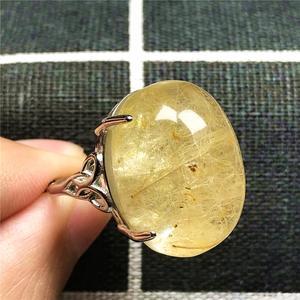Image 5 - 100% Natuurlijke Goud Haar Rutielkwarts Ring Voor Vrouw Dame Man Liefde 23X16 Mm Kralen Zilver Crystal Verstelbare ring Sieraden Aaaaa