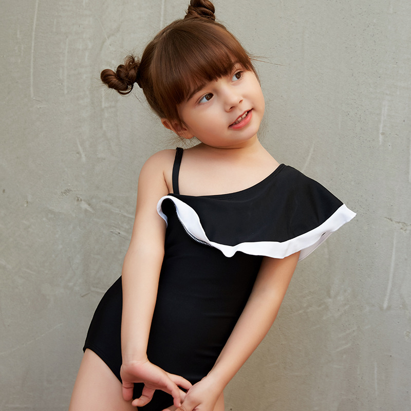 New Style KID'S Swimwear GIRL'S One-piece Swimsuit Children Baby Girls Flounced CHILDREN'S Swimsuit