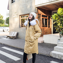 Thickening Mid-long Down Garment Straps Decoration Women Casual Dress Pure Color Deep pocket Tight Fitting Coat