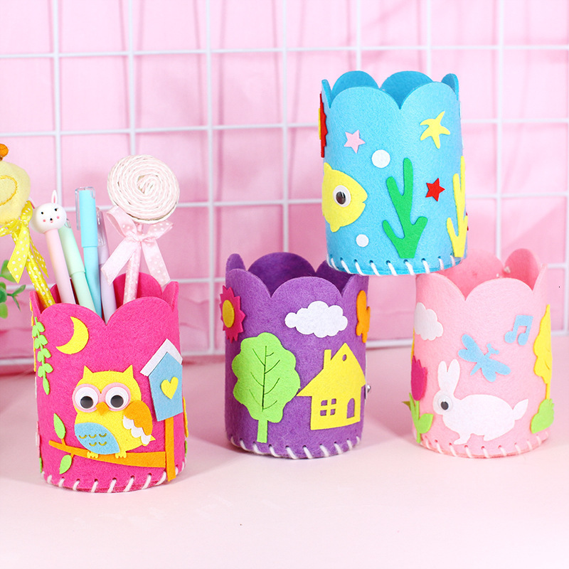 5Pcs/Set Kids DIY Craft Pencil Holder Educational Toys For Children Creative Handwork Pen Container Arts And Crafts Toys Gifts