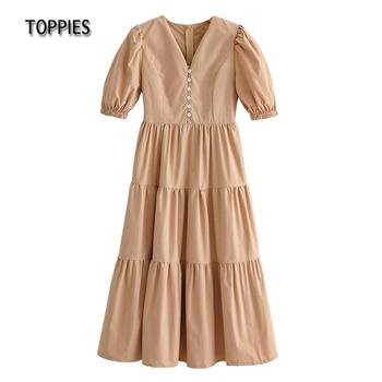 Toppies Summer T shirt Midi Dresses Women Short Sleeve Causuding Ruffles Dress Female Sexy Vacation