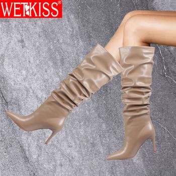WETKISS plisowane buty do kolan kobiety Slip On buty na cienkich wysokich obcasach buty kobieta Pointed Toe panie Slouchy wysokie buty moda buty 2020 tanie i dobre opinie CN (pochodzenie) Over-the-knee Plisowana Stałe MM872 Cienkie obcasy Podstawowe Syntetyczny Szpiczasty nosek Zima RUBBER