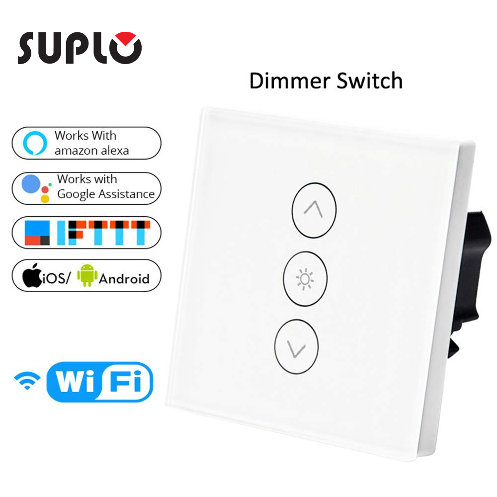 SUPLO WiFi Smart Wall Touch Light Dimmer Switch  EU Standard APP Remote Control Compatible With Alexa And Google Home