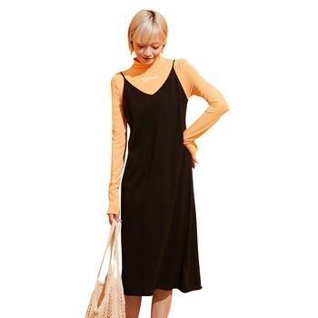 Samstree Black Pure V Neck Sleeveless Casual Knitted Dress Women Clothes 2019 Autumn Minimalist Midi Ladies Dresses