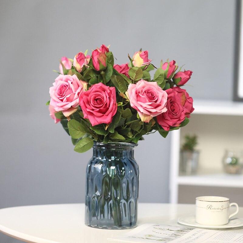 yumai 5 unids / set rosas blancas flores de imitación novia ramos amante regalo PEANDIM candelabros centros de mesa para bodas mesa de centro candelabros partes decoración K9 candelabro de cristal de oro de vela