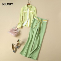 High Quality Women's Set Clothes 2019 Autumn Elegant Work Suit Ladies Striped Color Block Light Yellow Shirt+Belted Green Pants