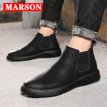MARSON Men's Casual Flats Boots Short Shoe Ankle Boot Comfortable Waterproof Outdoor Slip-On Leather Footwear Plus Size - discount item  30% OFF Men's Shoes