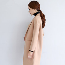 2020 Winter Autumn New Women Open Stitch V-Neck Two-Coat Drop-Shoulder Slim Tweed Coat Female Patchwork Fashion Overcoat ZX505(China)